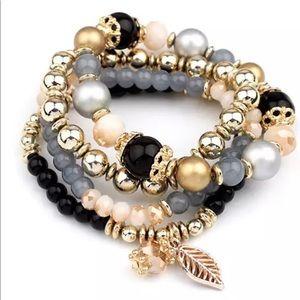Jewelry - New! Black Beaded Stretch Bracelet